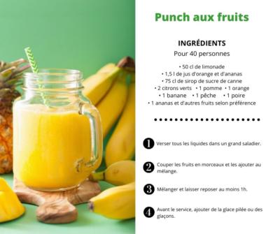 Recette Cocktail sans alcool Punch aux fruits