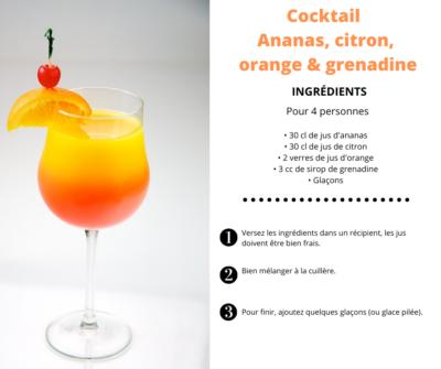 Recette Cocktail sans alcool ananas citron orange grenadine